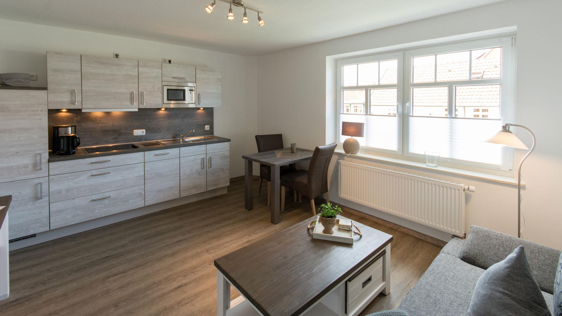 Wohnraum mit Esstisch und Küchenzeile