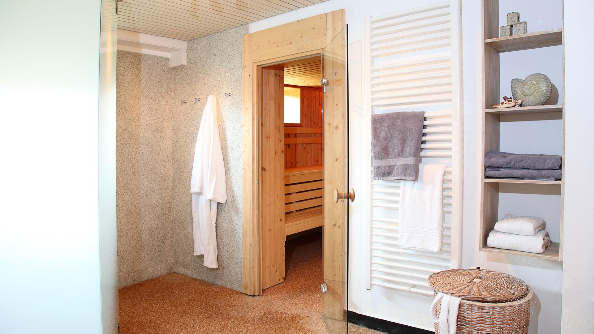 Sauna - Vorraum und Dusche